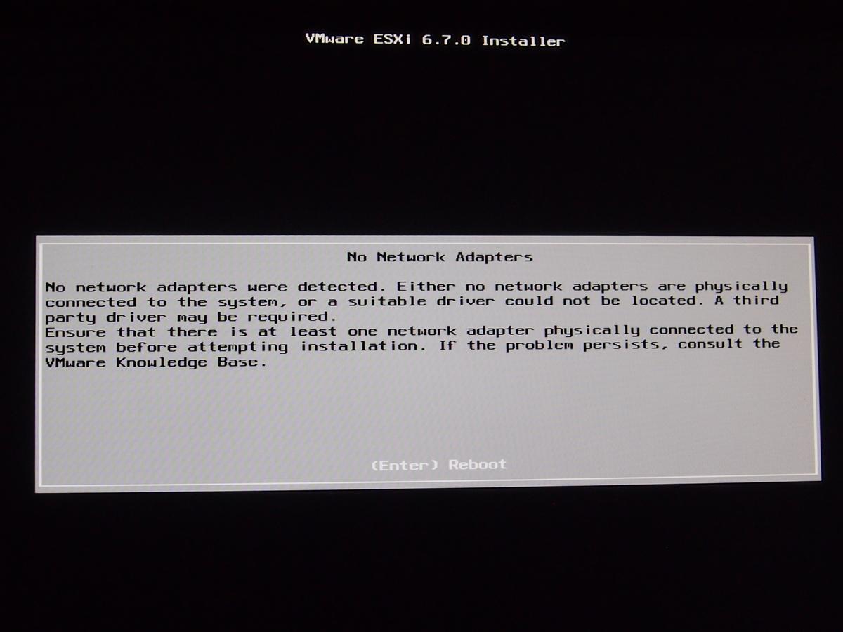 ESXi6.7インストール「No Network Adapters」エラー解決策(その2) - そういうのがいいブログ